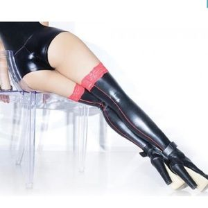 Black and red wet look thigh highs